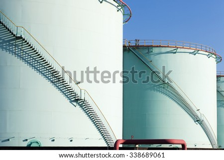 big Industrial oil tanks in a refinery - stock photo