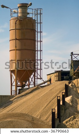 Big industrial silo for construction material storage. Gravel.