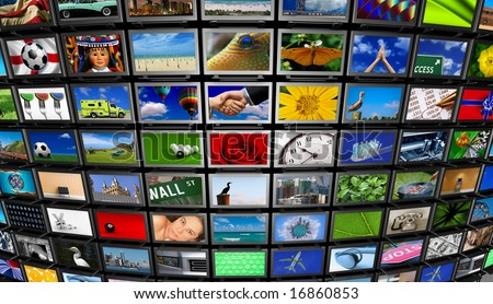 Big installation of Flat Panel TVs displaying different images - stock photo