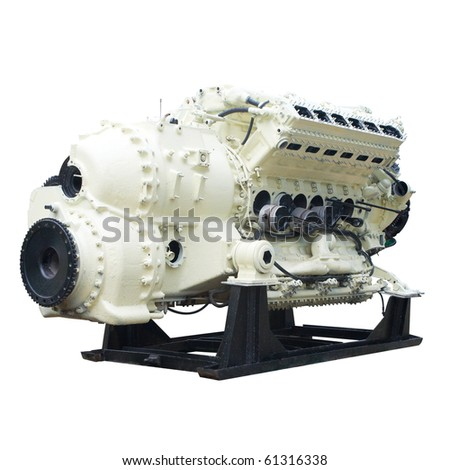 Big internal combustion engine. Isolated on white, with clipping path. - stock photo