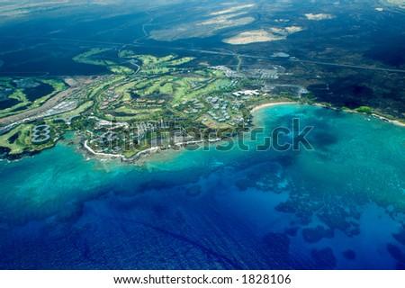 Big Island aerial shot - beach, Hawaii - stock photo