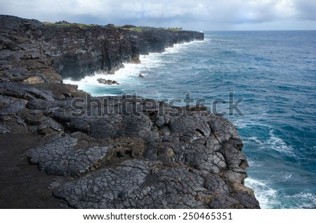 Big Island, Hawaii Volcanoes National Park..  Lava rock flow to the ocean edge - stock photo