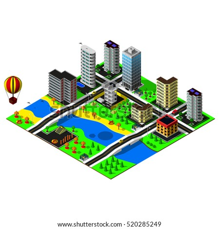 Big isometric city. Construction, quay, skyscrapers. Map includes beach, river, bridges, business center, offices, hotel, amusement park, cars, parkings, markings and hot air balloon. 3d map.