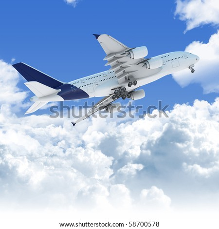 Big Jet airplane flying over a clear cloudscape seen from the bottom at takeoff, clipping path on the plane for easy isolation from the background - stock photo