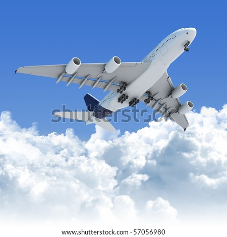 Big Jet airplane flying over a clear cloudscape seen from the bottom on takeoff, clipping path on the plane for easy isolation from the background - stock photo