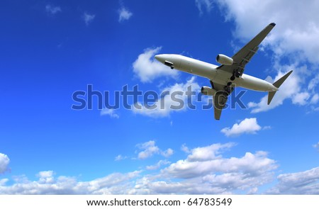Big jet plane flying on perfect sky background - stock photo