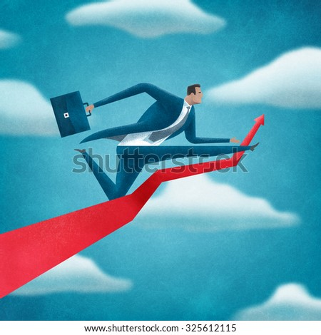 Big Jump. Illustration of a manager jumping over arrow - stock photo