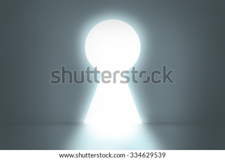 Big keyhole exit. Out concept. Gray background