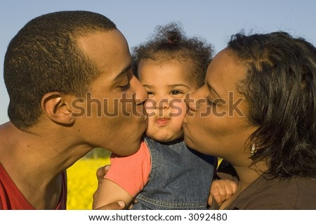 Big kiss, funny expression, lots of love - stock photo