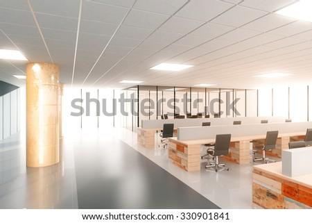 Big light open modern space office 3D Render - stock photo
