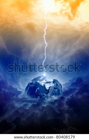 Big lightning hit planet Earth in dark dramatic sky - stock photo