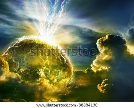 Big lightning hit planet  in dark cloud sky - stock photo