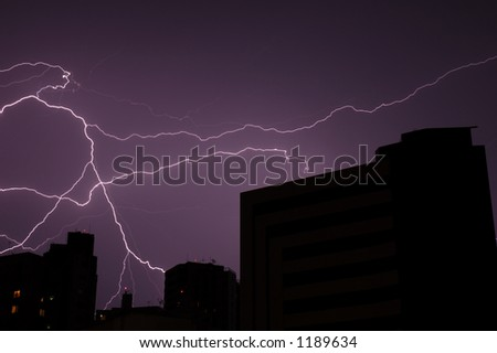 Big Lightning in the City - stock photo