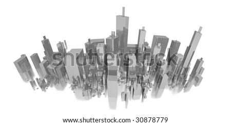 big long city panorama - stock photo