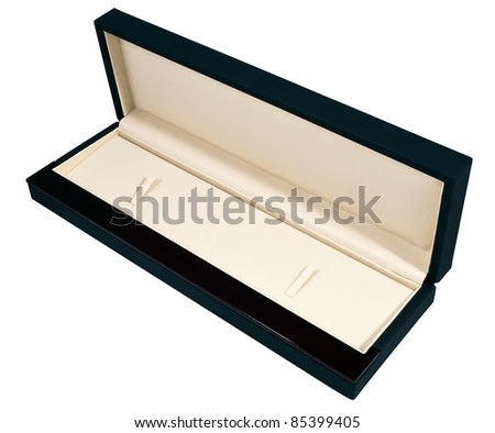 big long nice expensive opened dark blue lather and polished wooden mahogany case with  elephant ivory lather interior isolated over white - stock photo