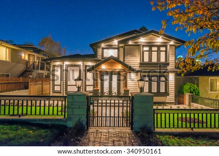 Big Luxury Modern House Dusk Night Stock Photo 340950161 ...
