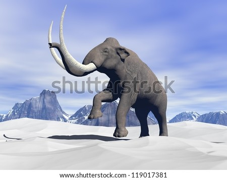 Big mammoth walking slowly in the snowy mountain - stock photo