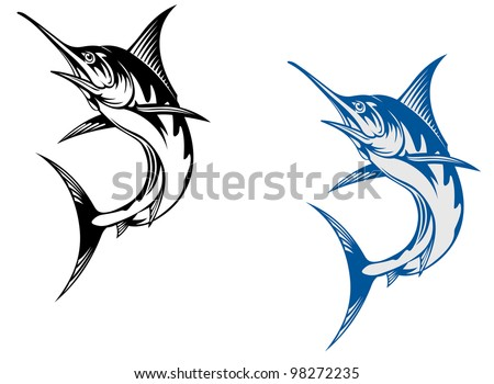 Big marlin fish isolated on white background in retro style, such  a logo. Vector version also available in gallery - stock photo