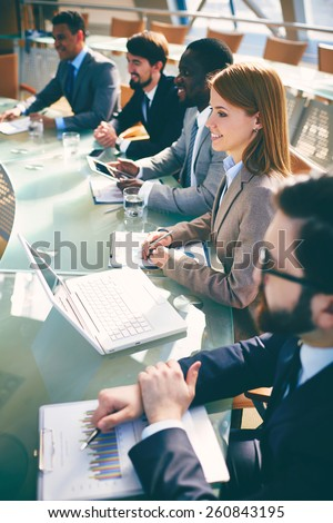 Big meeting of partners - stock photo