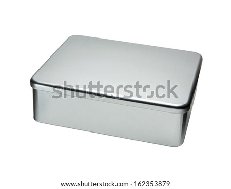 Big Metal box isolated on a white background - stock photo