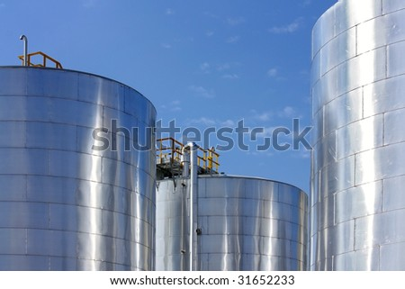 big metal gasoline tanks - stock photo
