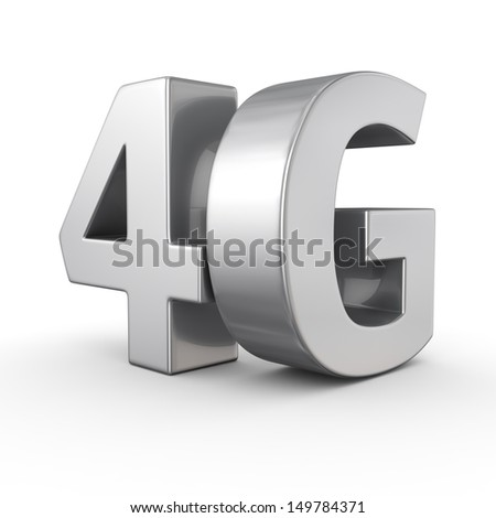 Big metal letters 4G on white - stock photo