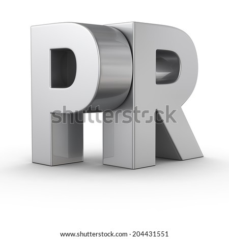 Big metal letters PR on white background - stock photo
