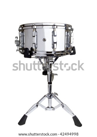 Big metal snare drum on a stand isolated on white - stock photo