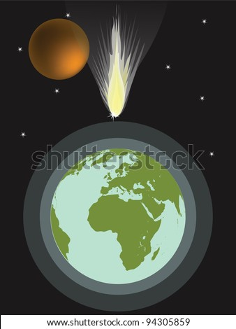 big meteorite hits earth - stock photo
