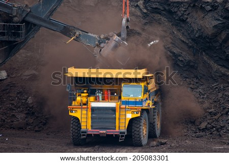 big mining truck unload coal - stock photo