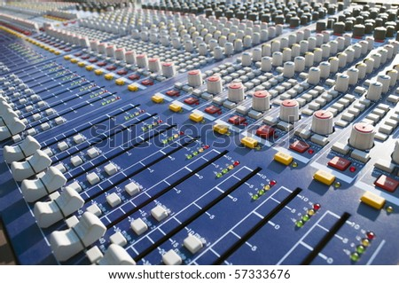 Big Mixer on a stage during a sound check - stock photo