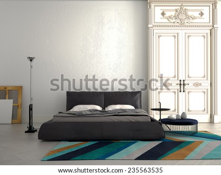 Big modern Bedroom in an chic apartment. 3d rendering - stock photo