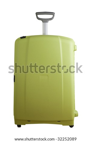 Big modern suitcase isolated on white with clipping path - stock photo