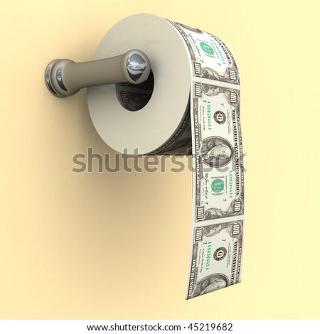 Big Money depicted as a roll of toilet paper on a bathroom dispenser