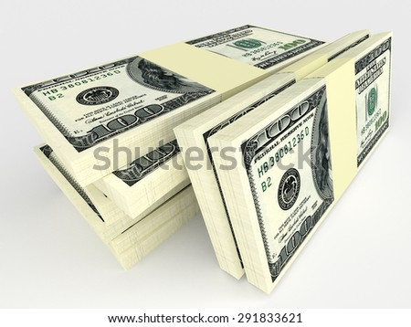 Big money stack from dollars. Finance conceptual
