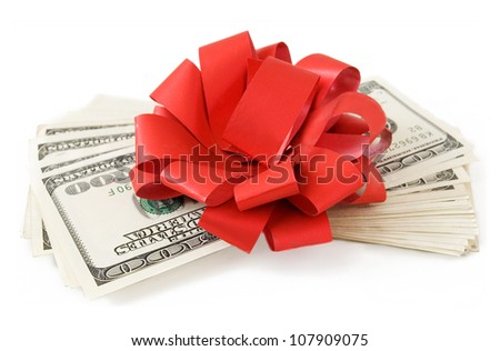 Big money stack with red bow isolated on white background - stock photo