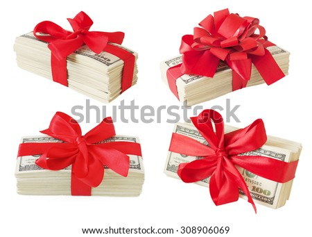 Big money stack with red bow isolated on white background. Set of money gifts - stock photo