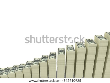 Big money stacks from dollars with blank space for your text - stock photo