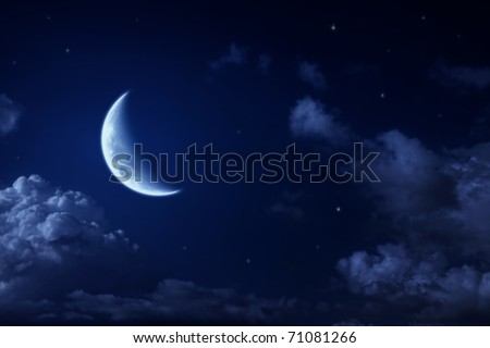 Big moon and stars in a cloudy night blue sky. fantastic beautiful landscape - stock photo