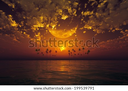 big moon in clouds over orange sunset at tropical sea. Elements of this image furnished by NASA - stock photo