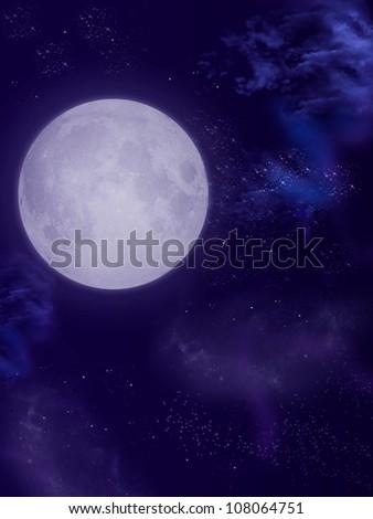 big moon in dark sky with nebula - stock photo