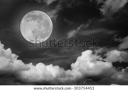 Big moon on a cloudy sky, Black and white style
