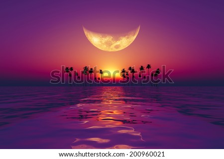 big moon over purple sunset at tropical sea. Elements of this image furnished by NASA  - stock photo