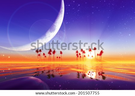 big moon over purple sunset at tropical sea with stars. Elements of this image furnished by NASA  - stock photo