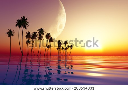 big moon over tropic island at sunset. Elements of this image furnished by NASA - stock photo