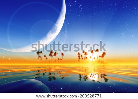 big moon over yellow sunset at tropical sea with stars. Elements of this image furnished by NASA  - stock photo