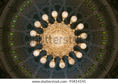 Big mosque chandelier, Oman - stock photo