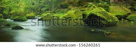 Big mossy sandstone boulder in clear mountain river, fresh green fern above water. Reflections in water level, first colorful beech leaves lay on mossy ground. - stock photo