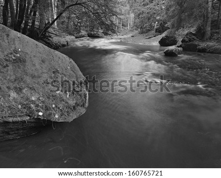 Big mossy sandstone boulders in water of mountain river. Clear blurred water with reflections. Gulch covered beeches and maple trees. - stock photo