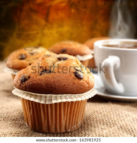 big muffin and coffee - stock photo